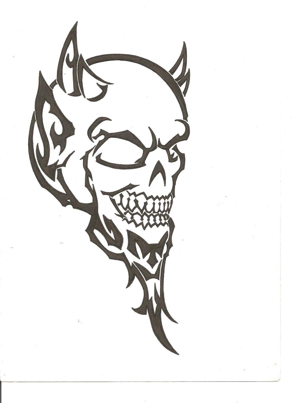 devil tribal tattoo by thefuzzydude on deviantart. Black Bedroom Furniture Sets. Home Design Ideas