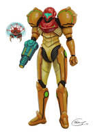 Samus and Metroid by DeathKnightCommander