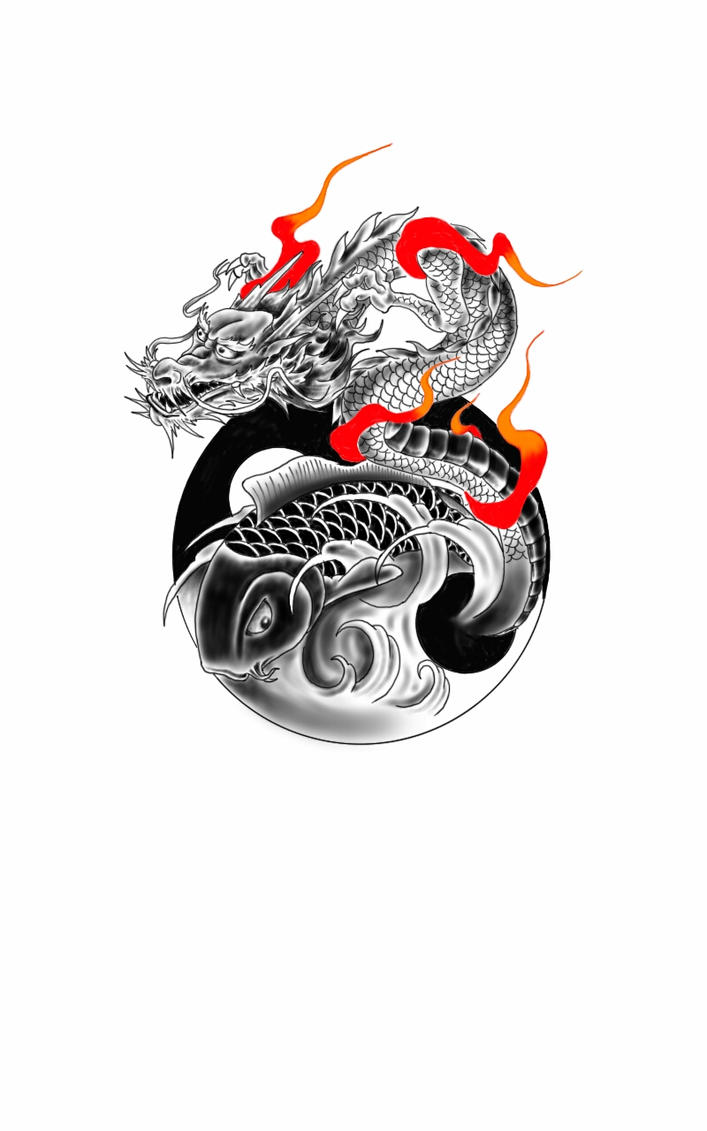 Dragon and koi fish with yin yang by chanlung168 on deviantart for Yin and yang koi fish