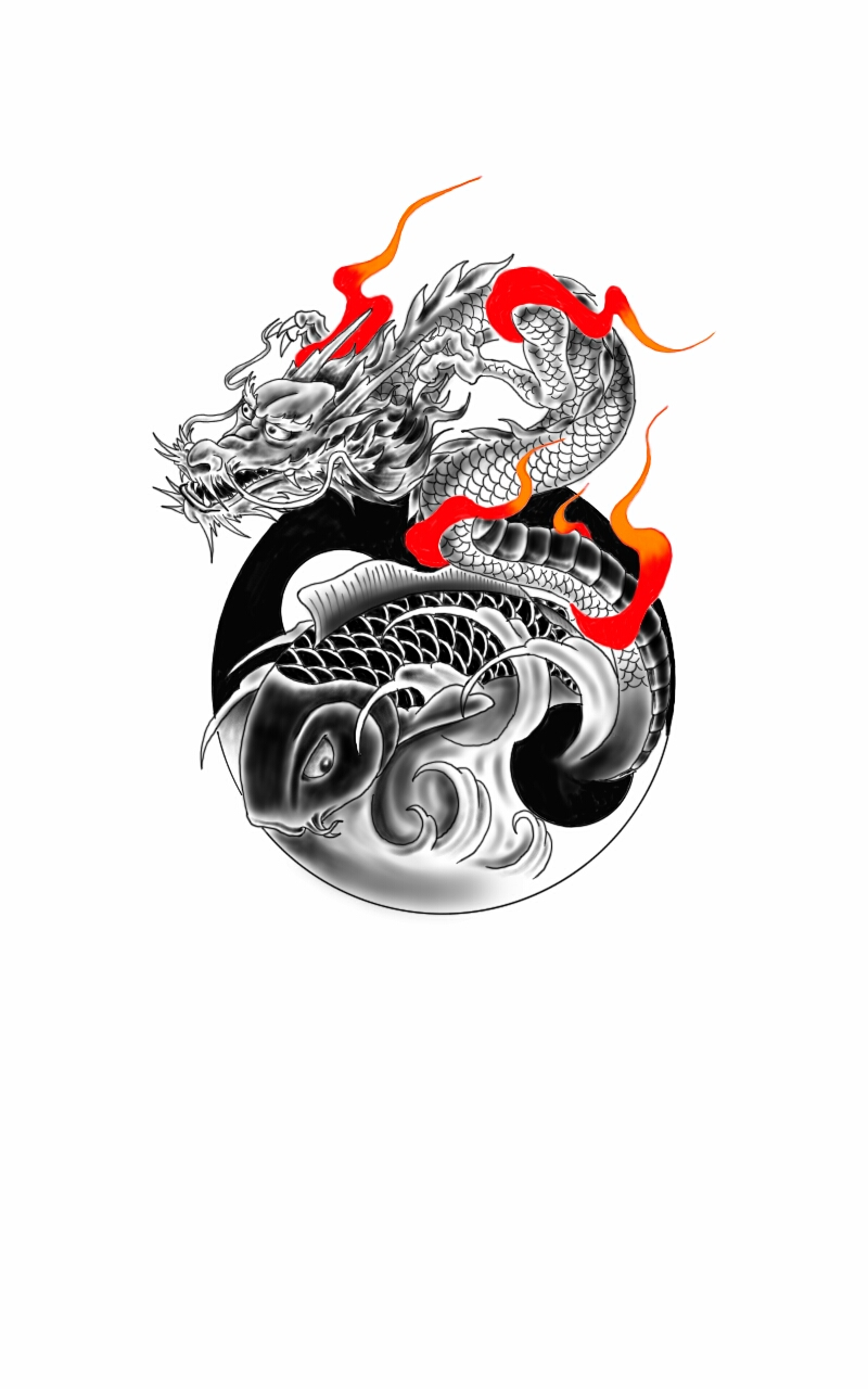 Dragon and koi fish with yin yang by chanlung168 on deviantart for Black dragon koi