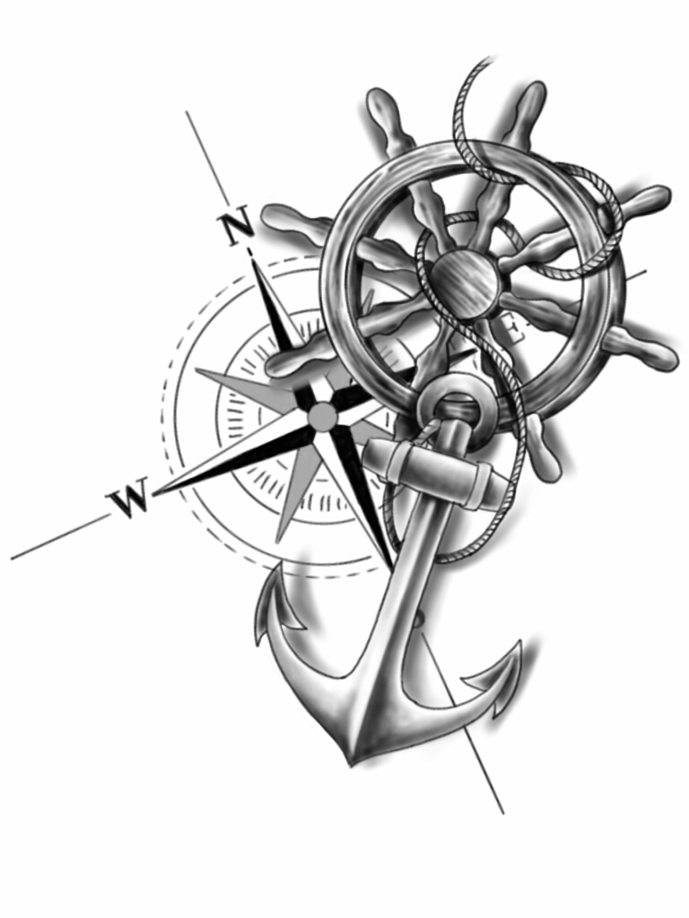 Anchor compass and wheel by chanlung168 on deviantart for Anchor and wheel tattoo