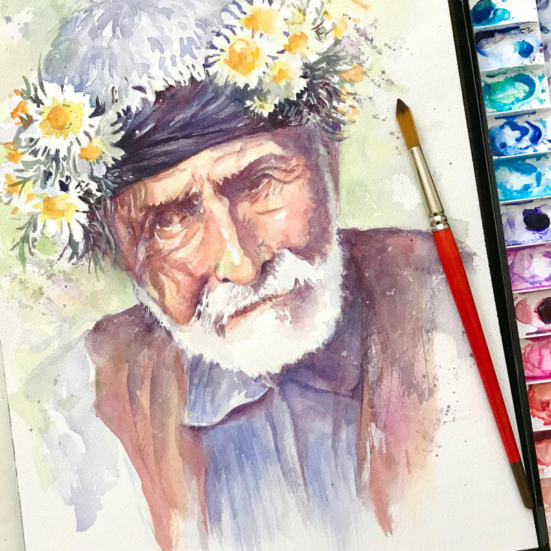 Old Man with Flowers by MonaParvin