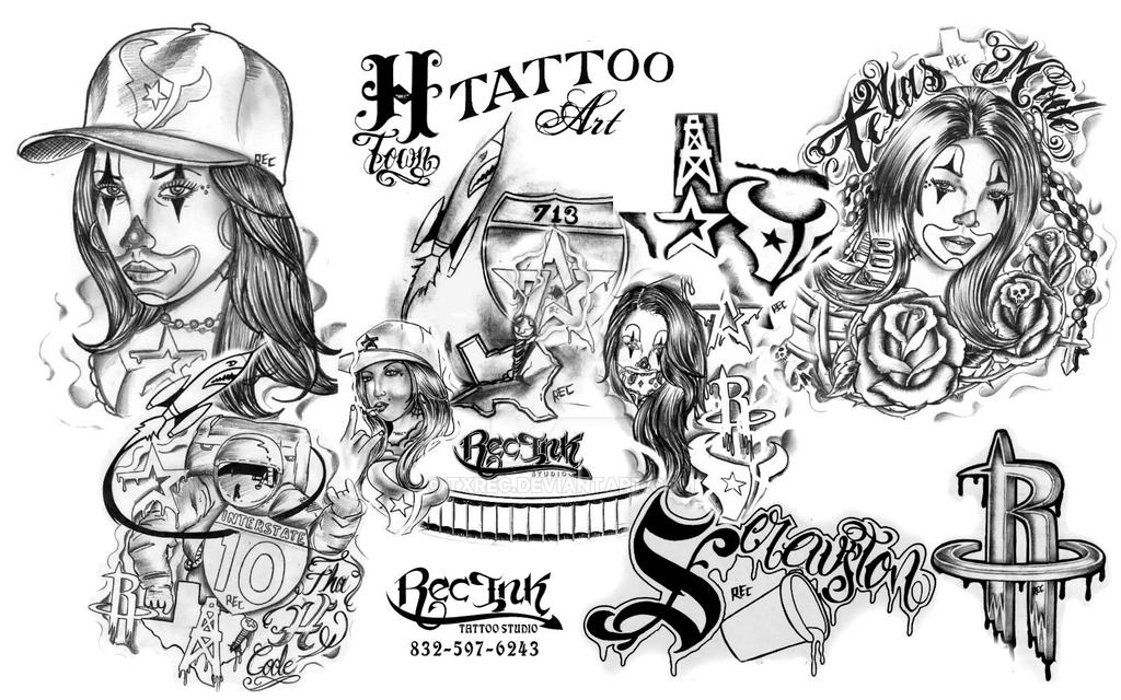 H Town Tattoo Flash By TXREC