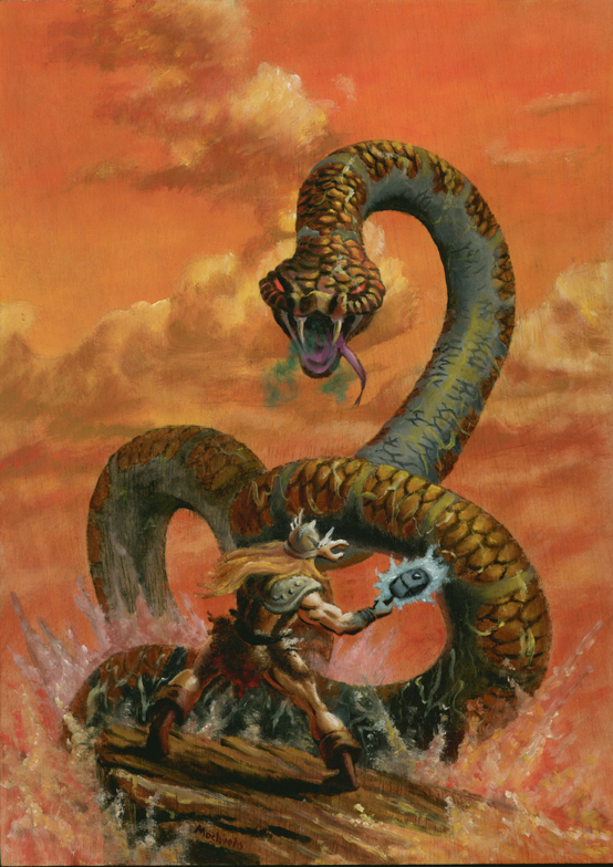 Thor vs Midgard Snake by mochueloscuro on DeviantArt