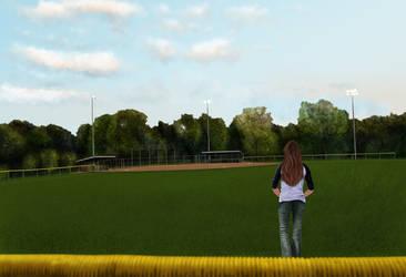 Girl On Ball Field