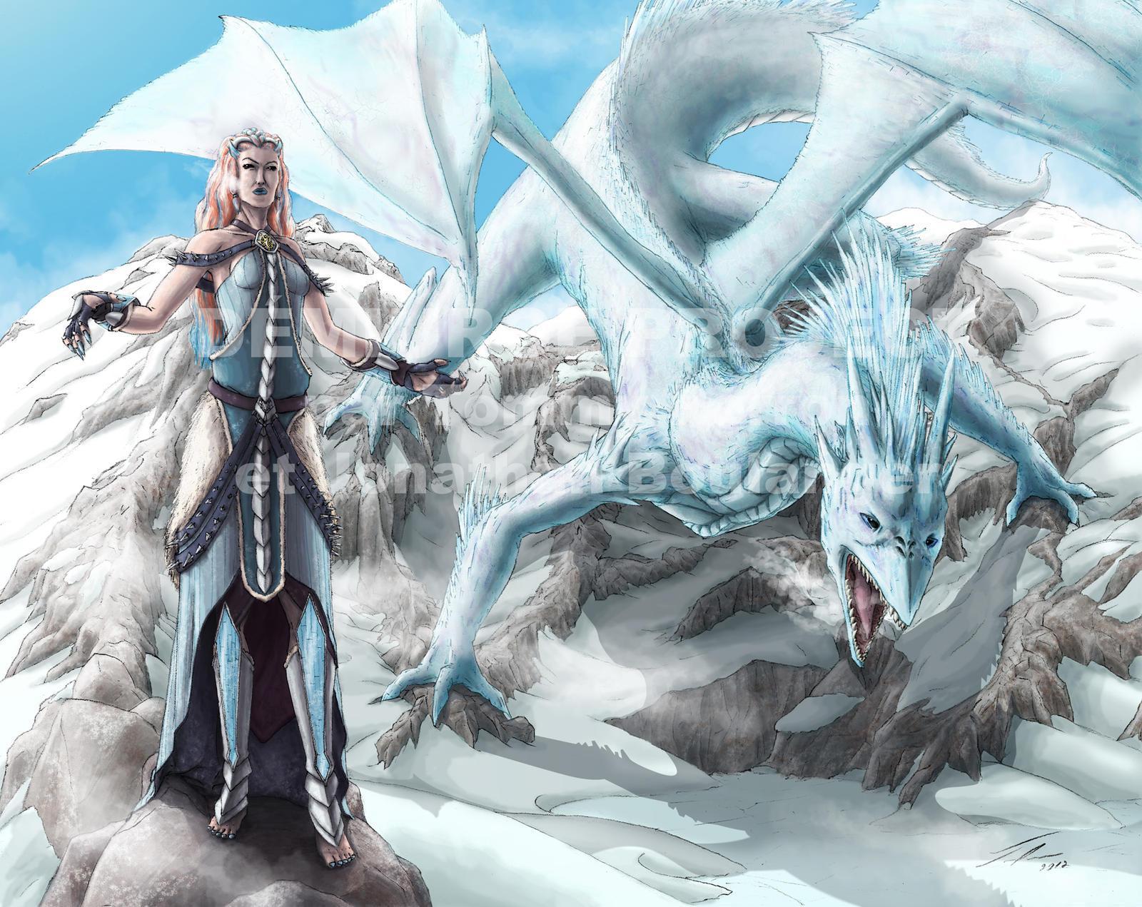 Ice dragon lady by TomXaros
