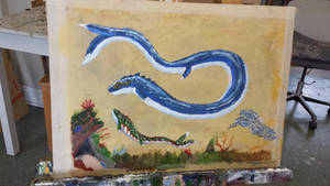 Sea serpent and its young