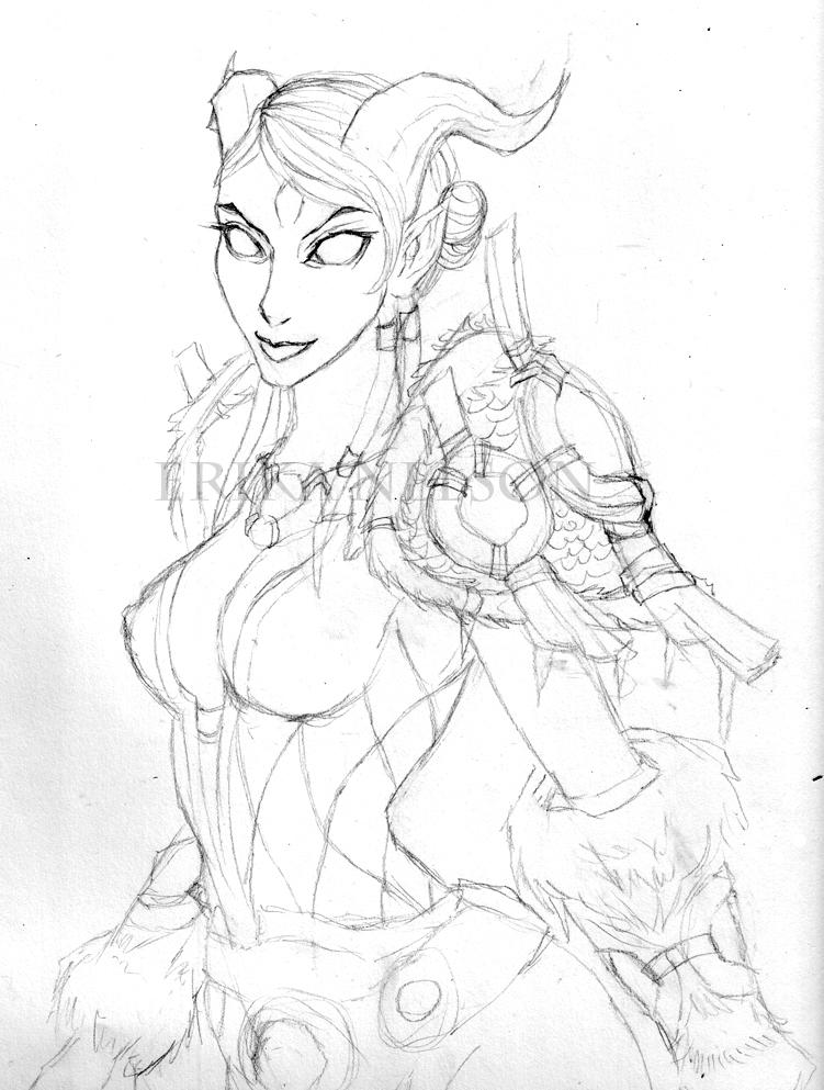 Draenei Shaman Sketch by EtherealEdged