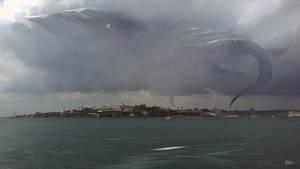 Flying Kraken over Istanbul