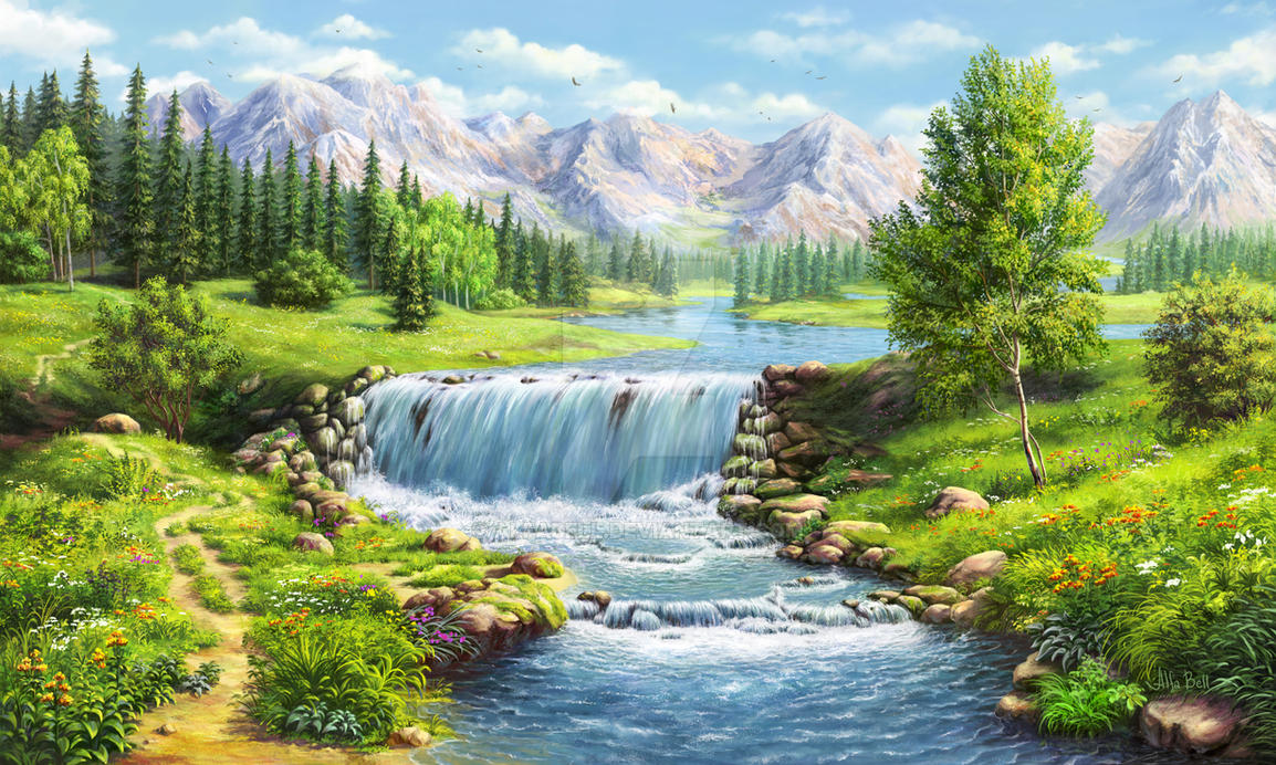 Waterfall Paintings For Sale