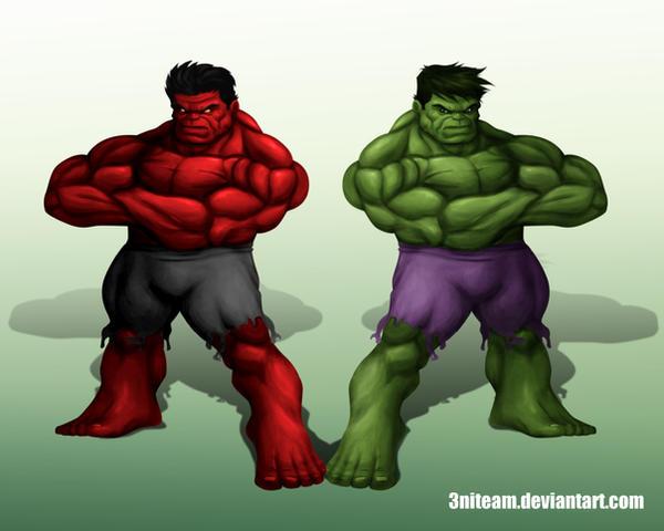 RED HULK GREEN HULK by 3niteam on DeviantArt