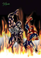 Spiderman and Venom by 3niteam