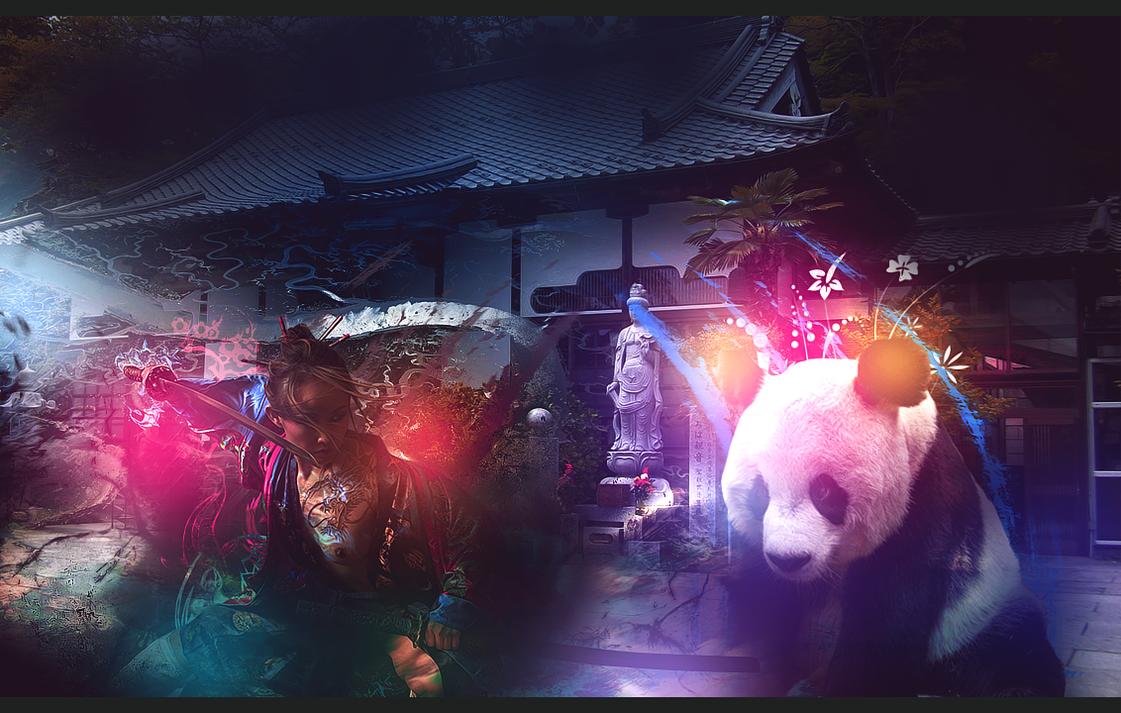 Girl vs Panda by Tsubasart