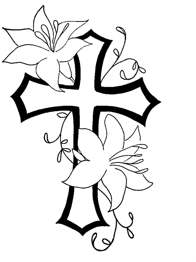 Cross n flower tat design by natchezartist on deviantart for Coloring pages of crosses and roses