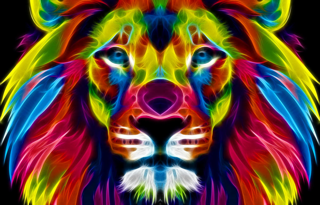 A Colourful Lion by idioti123 on DeviantArt