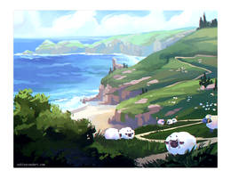 sheep by the seashore by alaeries