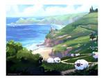 sheep by the seashore