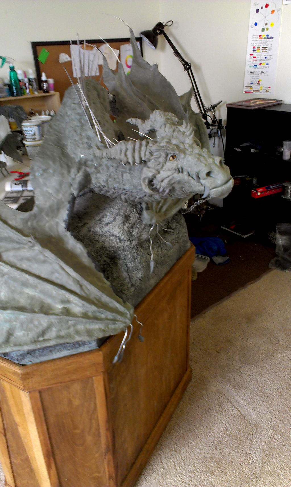Halfway point on my giant wyvern by RavendarkCreations
