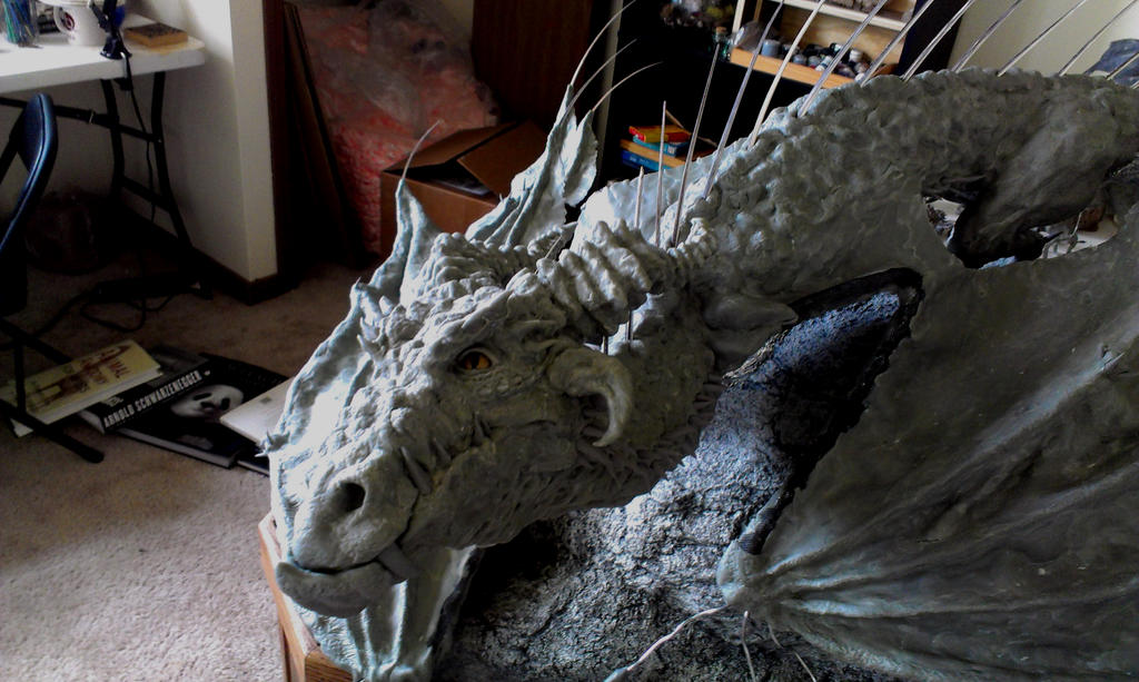 Halfway point on my giant wyvern 2 by RavendarkCreations