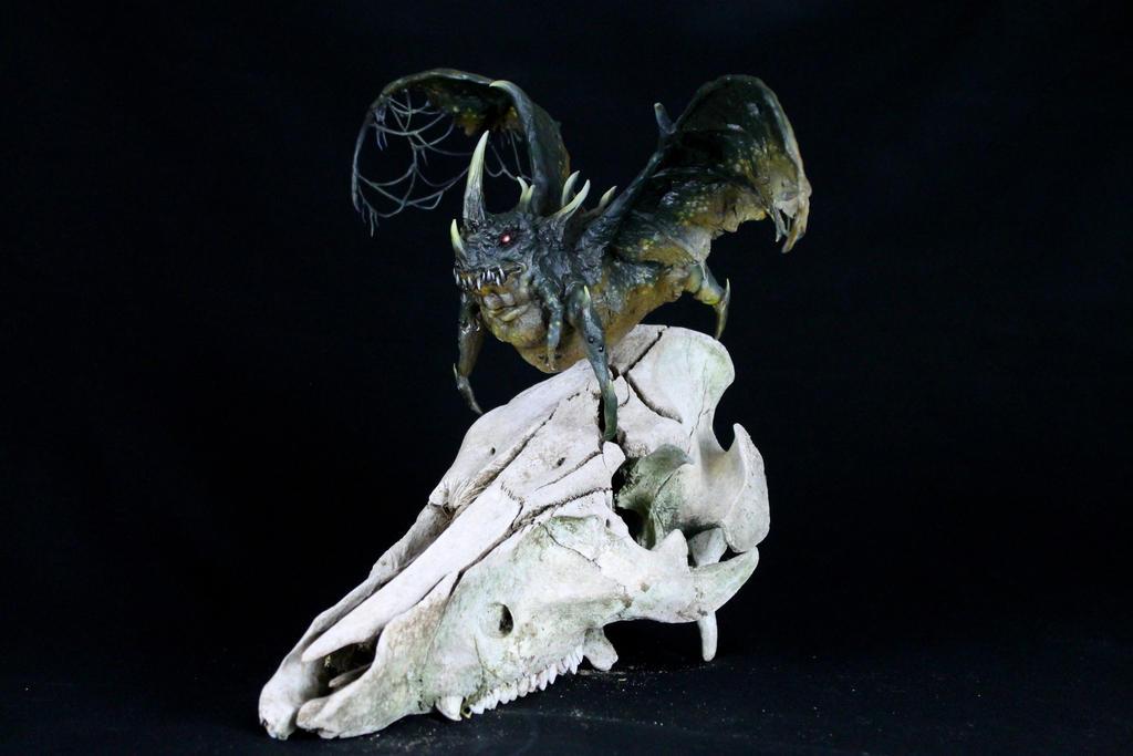 Villoingt Demon on Deer Skull by RavendarkCreations