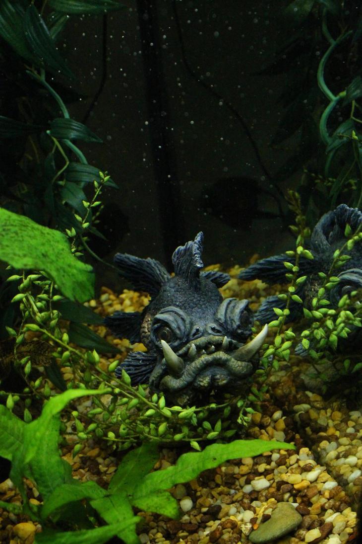 Orc Goldfish in Aquarium by RavendarkCreations