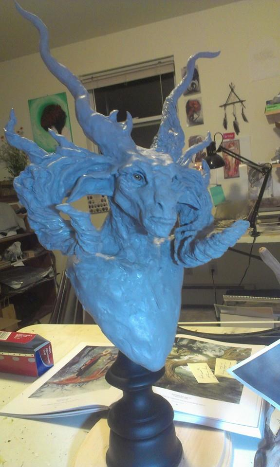 Satyr Bust WIP by RavendarkCreations