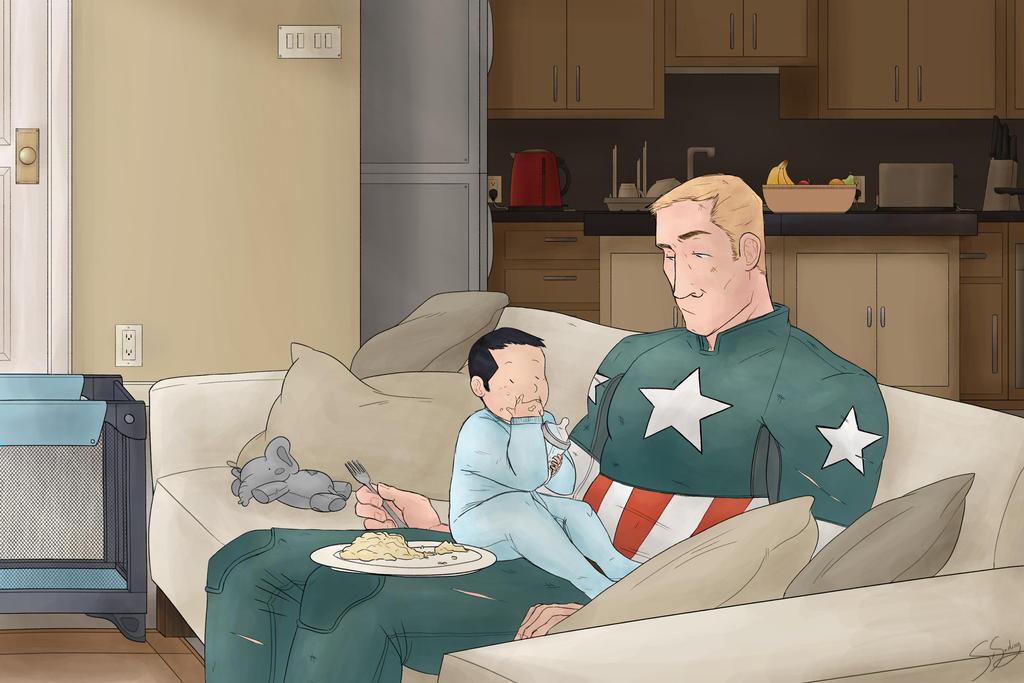 baby Tony eating eggs in steve's lap