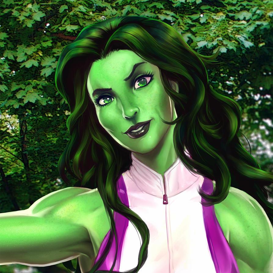 She-Hulk closeup by CountCarbon