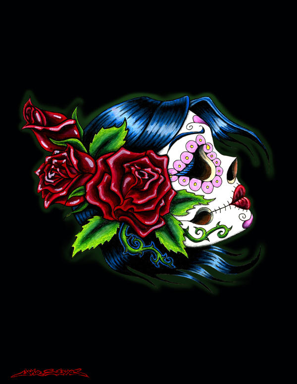 Female Sugar Skull by MuddyGreen