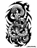 Skull Snake Tattoo Design by MuddyGreen