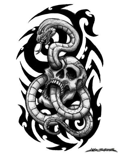 Snake and Skull Tattoo Designs