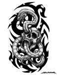 Skull Snake Tattoo Design