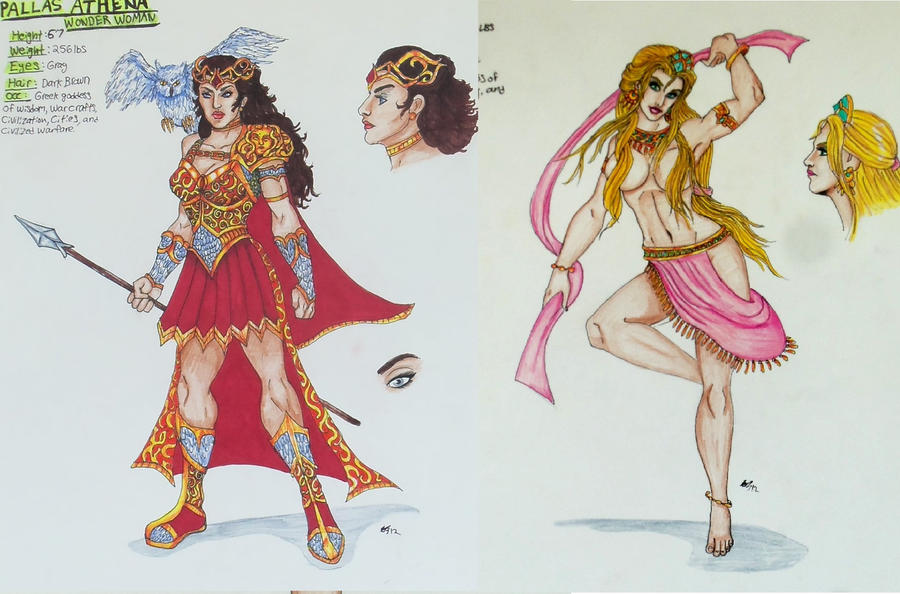 Wonder Woman Gods Redone #1: Athena and Aphrodite by Medusa1893