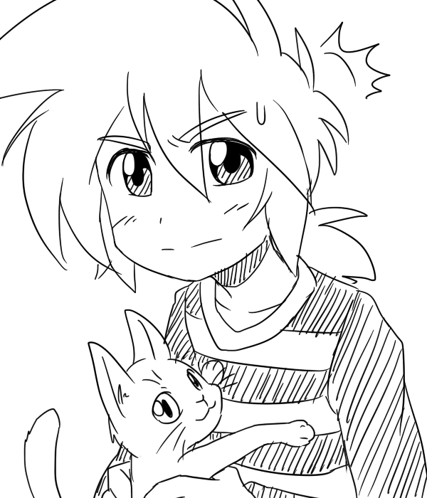 Coffboy plays with cat by Coffgirl