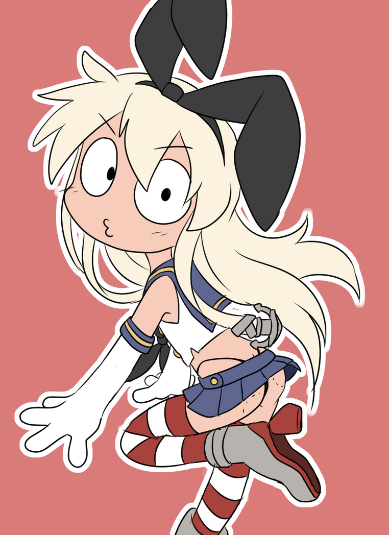 Shimakaze with crazy face by Coffgirl