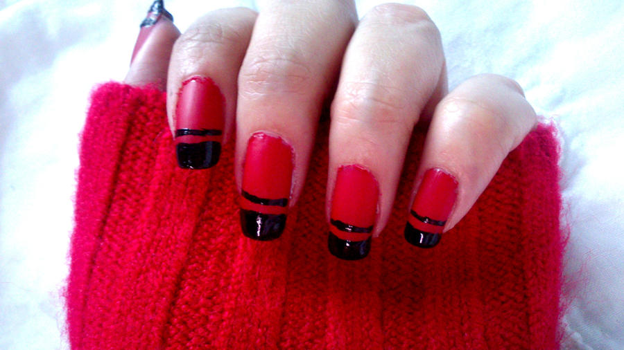 red matte red nails with black tips by brujawhite on