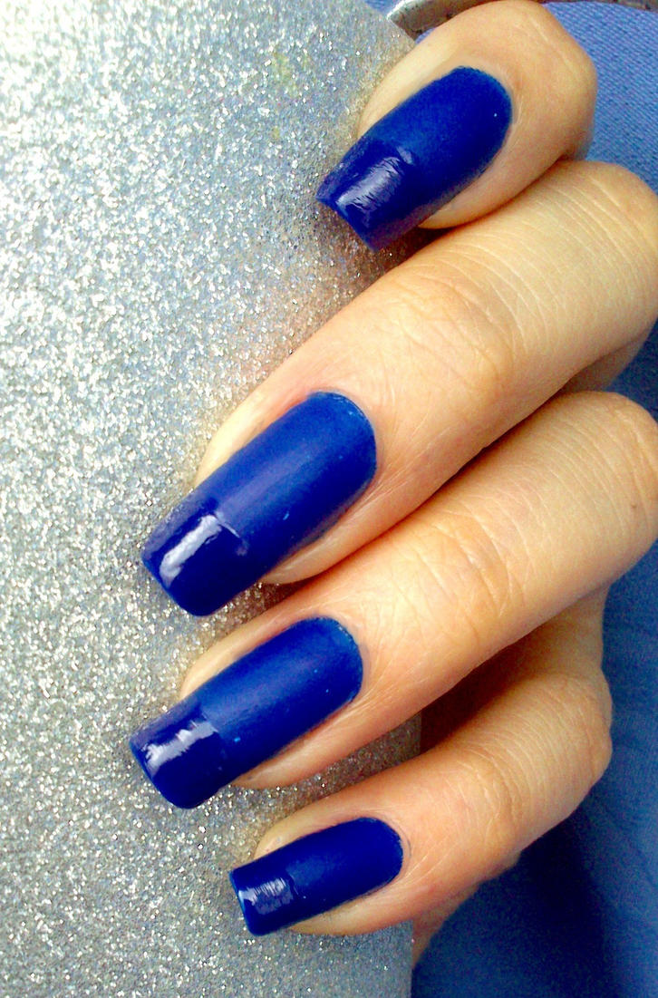 21. Inspired by a colour: Matte blue nails by Brujawhite on DeviantArt
