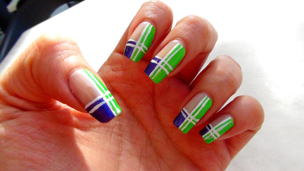 Green Purple Geometric Nails By Brujawhite On Deviantart