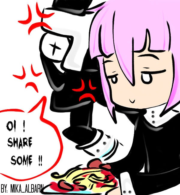 Crona eating a pasta by MikaAlbarn