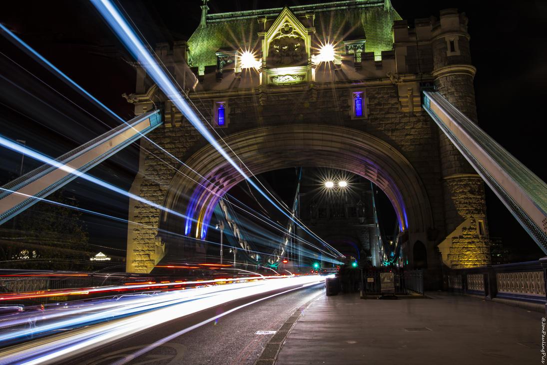 Tower Bridge Light Trails by Mincingyoda