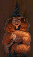 Hermione and Crookshanks by BoggartOwl