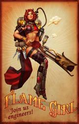 Flame Girl Pin-up
