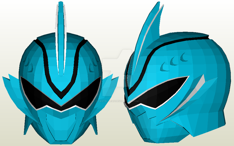 shark spirit ranger helmet papercraft by pastelleaf on