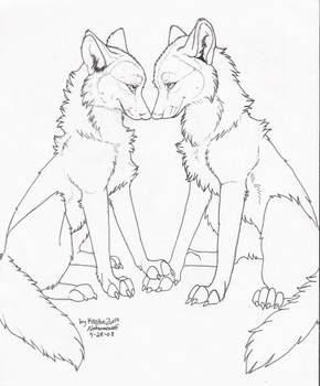 FREE (TO COLOR ONLY) Wolf Love LineArt