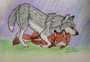 Fox and Wolf hug by NatsumeWolf