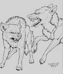 FREE Wolf Fight Line art