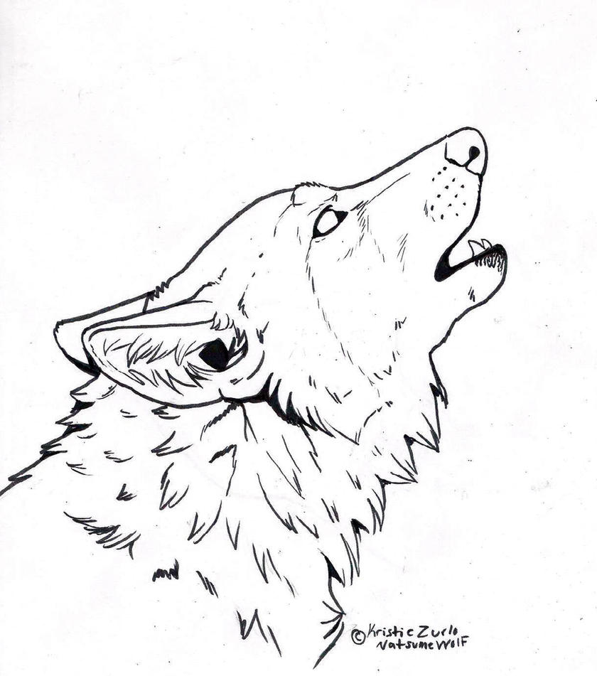 Free to color only howling wolf line art by natsumewolf on for Howling wolf coloring pages