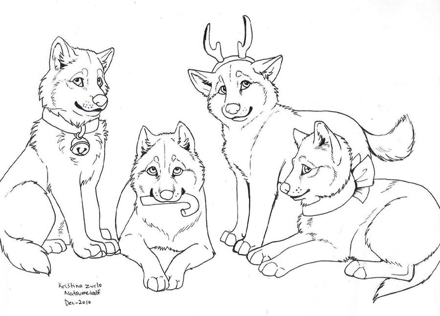 Line Art Group : Free wolf gift lineart by natsumewolf on deviantart