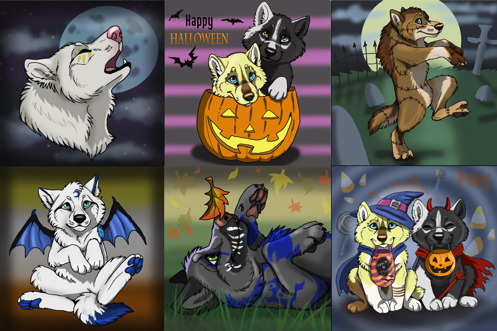 2014 Halloween fall pups ( SOLD) by NatsumeWolf