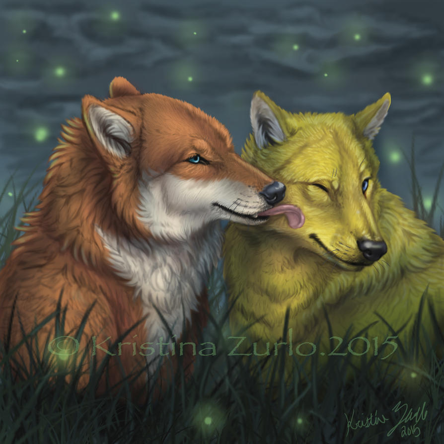 YCH Wolf Kiss and fireflys by NatsumeWolf